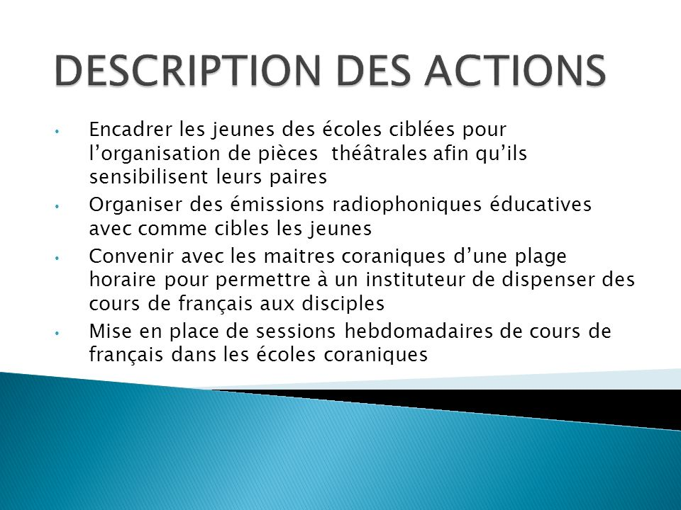 DESCRIPTION DES ACTIONS
