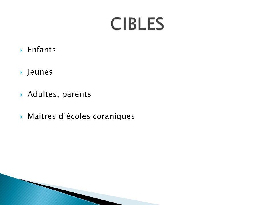 CIBLES Enfants Jeunes Adultes, parents Maitres d'écoles coraniques