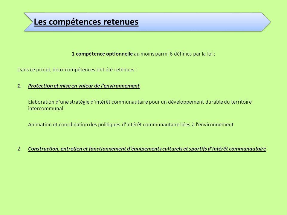 1 compétence optionnelle au moins parmi 6 définies par la loi :