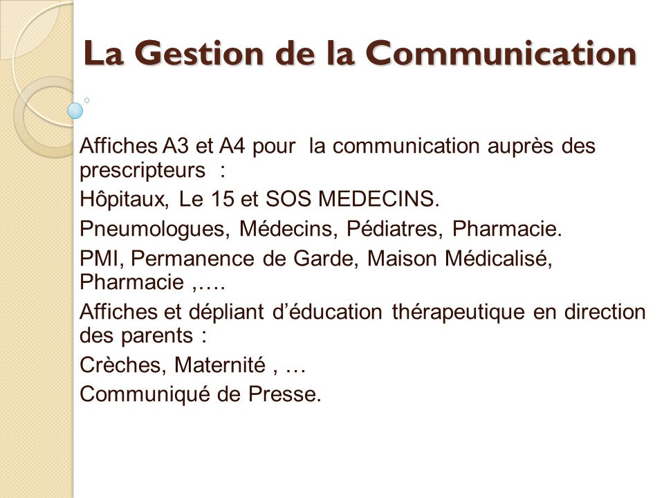 La Gestion de la Communication