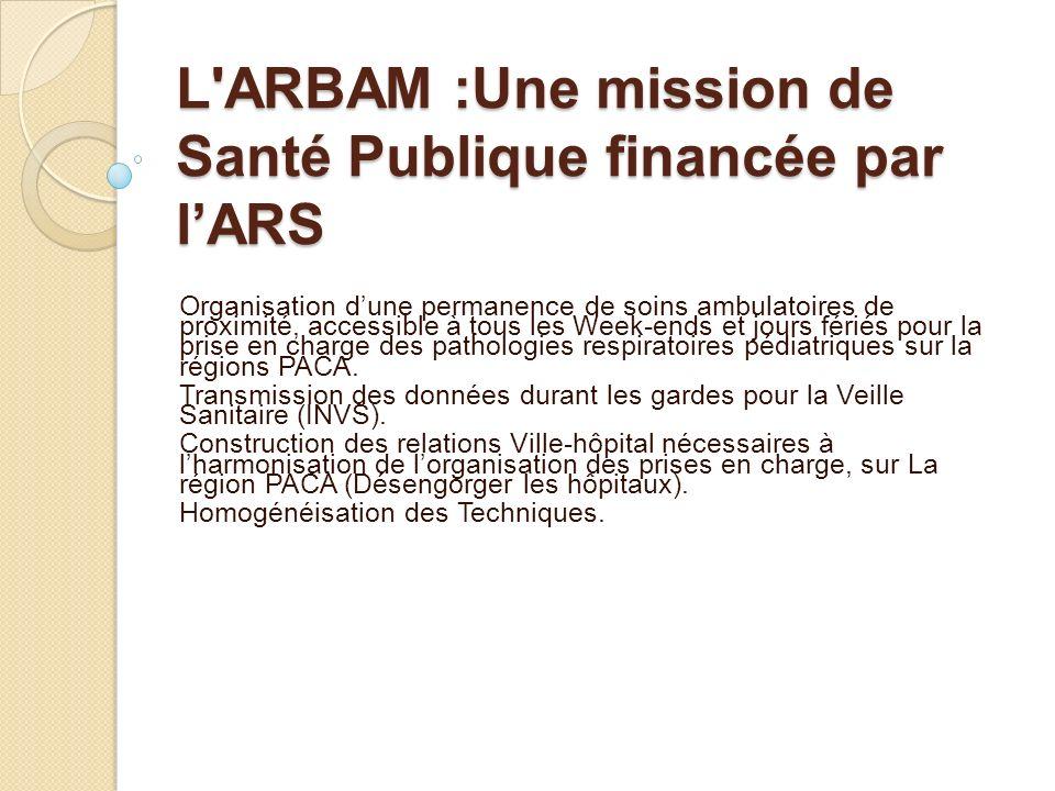 L ARBAM :Une mission de Santé Publique financée par l'ARS