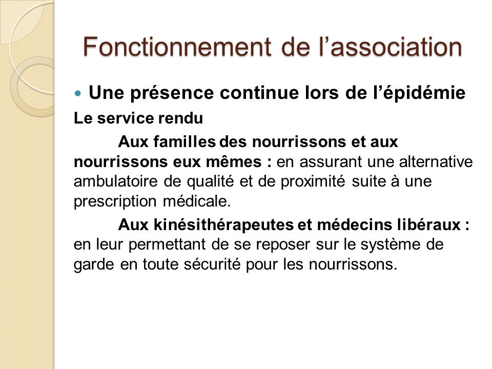 Fonctionnement de l'association