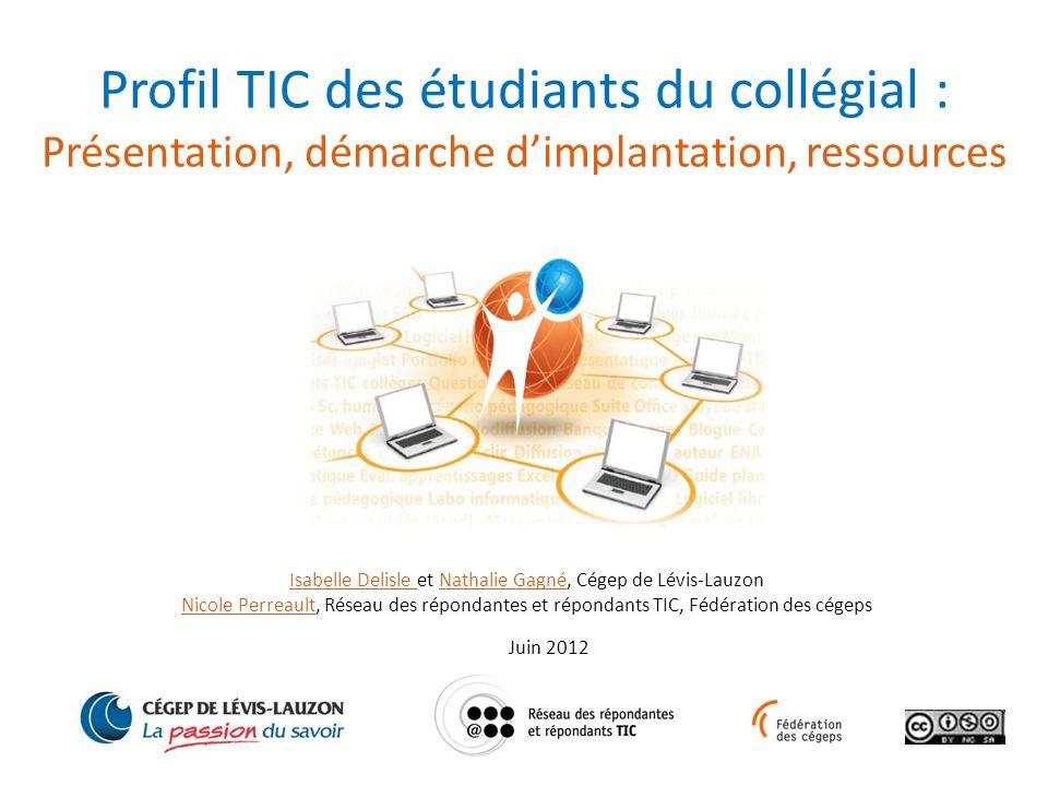Profil TIC des étudiants du collégial :