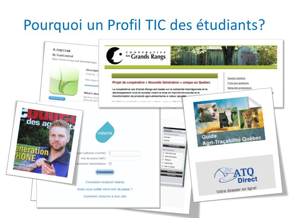 Pourquoi un Profil TIC des étudiants