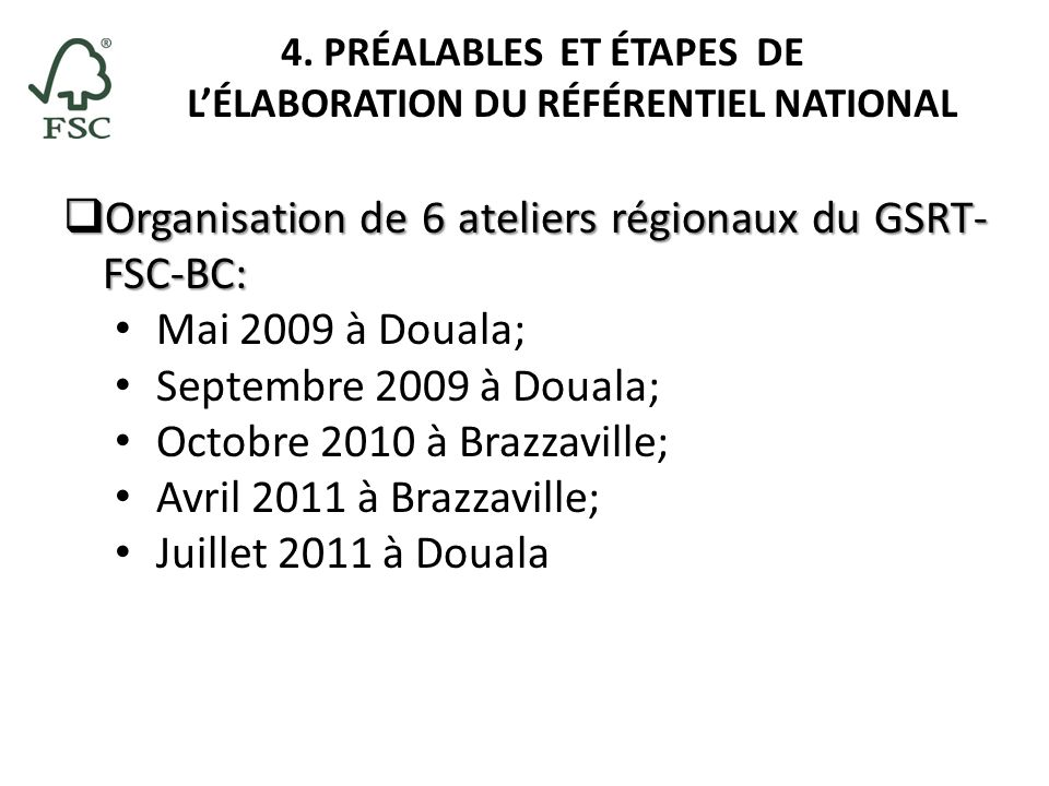4. PRÉALABLES ET ÉTAPES DE L'ÉLABORATION DU RÉFÉRENTIEL NATIONAL