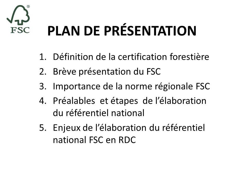 PLAN DE PRÉSENTATION Définition de la certification forestière