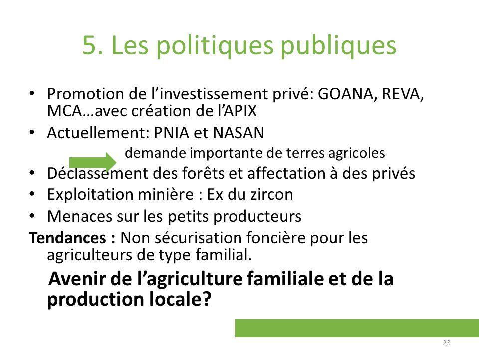 5. Les politiques publiques