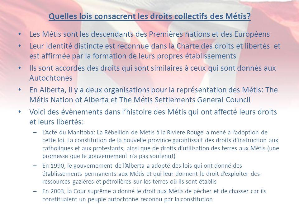 Quelles lois consacrent les droits collectifs des Métis