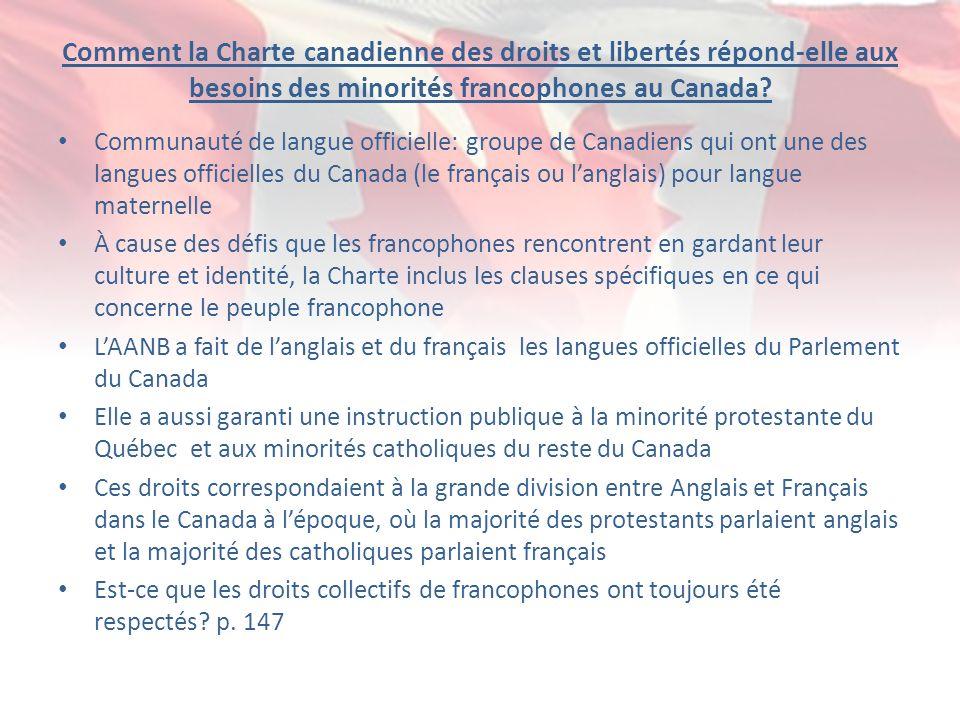 Comment la Charte canadienne des droits et libertés répond-elle aux besoins des minorités francophones au Canada