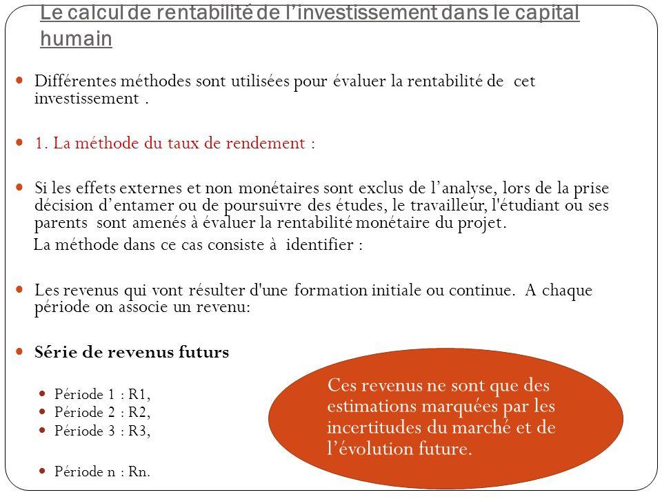 Le calcul de rentabilité de l'investissement dans le capital humain