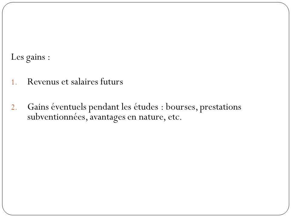 Les gains : Revenus et salaires futurs.