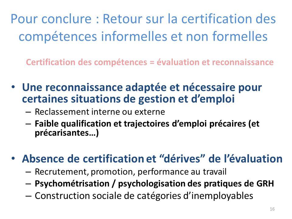 Certification des compétences = évaluation et reconnaissance