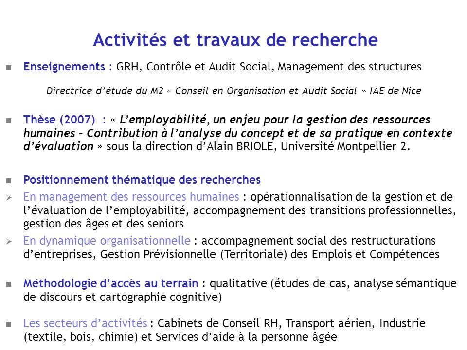Activités et travaux de recherche