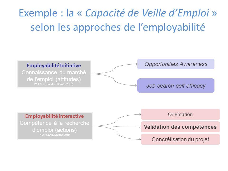 Exemple : la « Capacité de Veille d'Emploi » selon les approches de l'employabilité