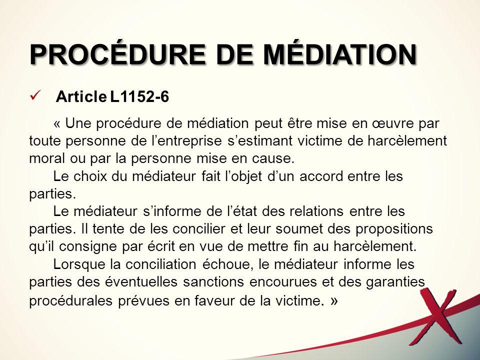 PROCÉDURE DE MÉDIATION