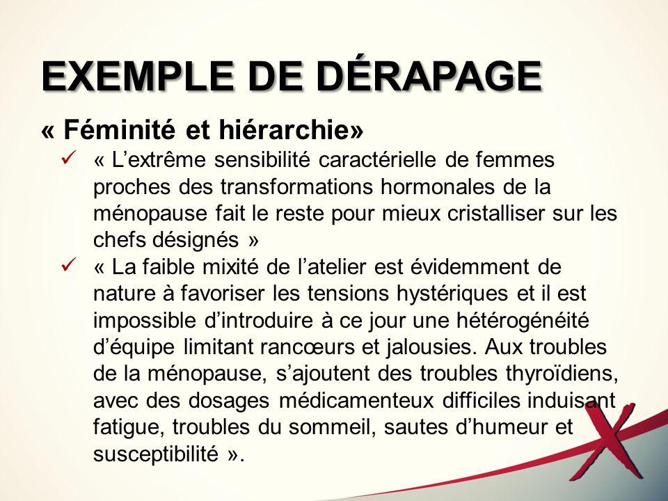 EXEMPLE DE DÉRAPAGE « Féminité et hiérarchie»