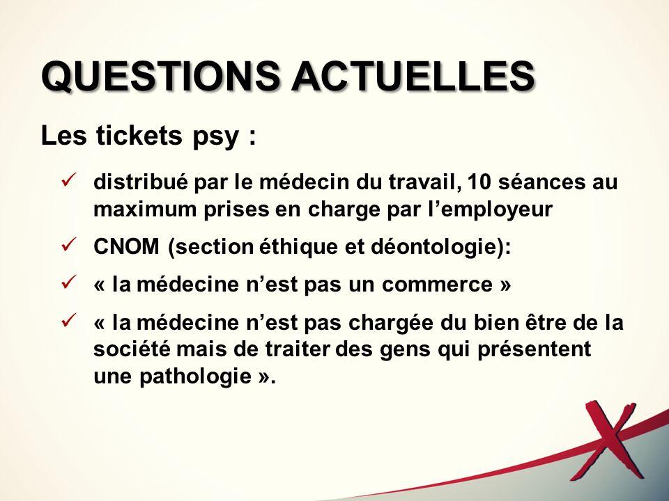 QUESTIONS ACTUELLES Les tickets psy :