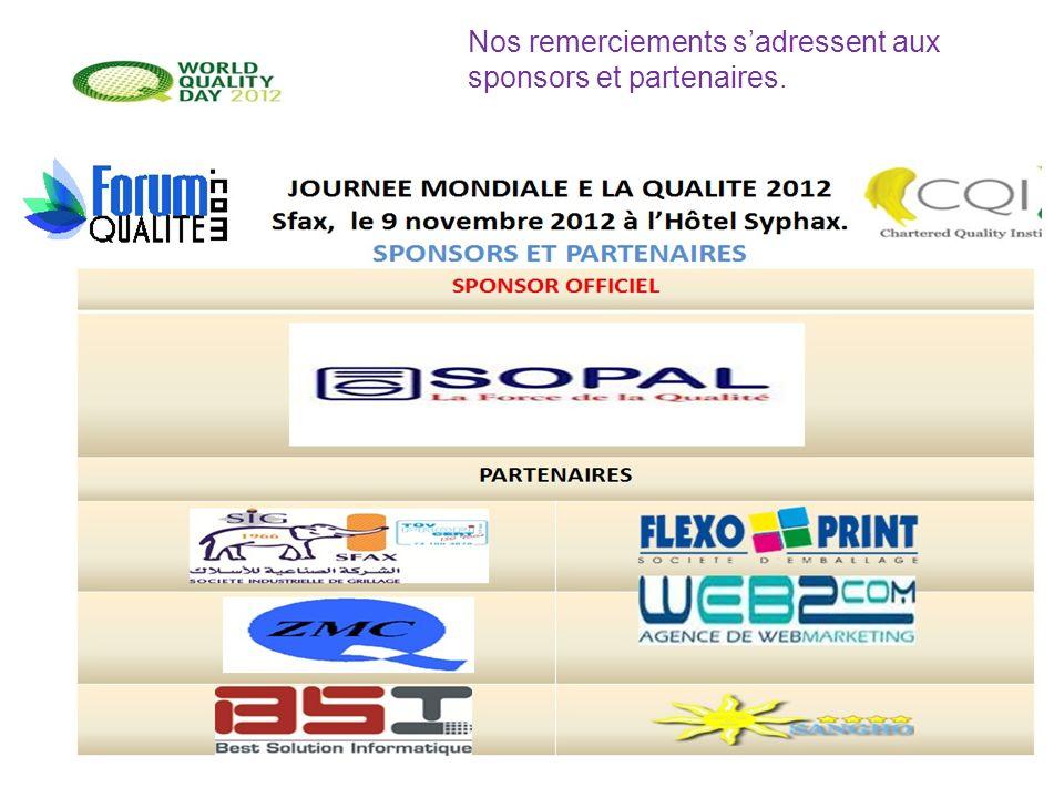 Nos remerciements s'adressent aux sponsors et partenaires.
