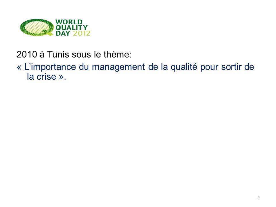 2010 à Tunis sous le thème: « L'importance du management de la qualité pour sortir de la crise ».