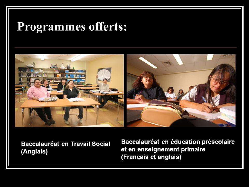 Programmes offerts: Baccalauréat en éducation préscolaire