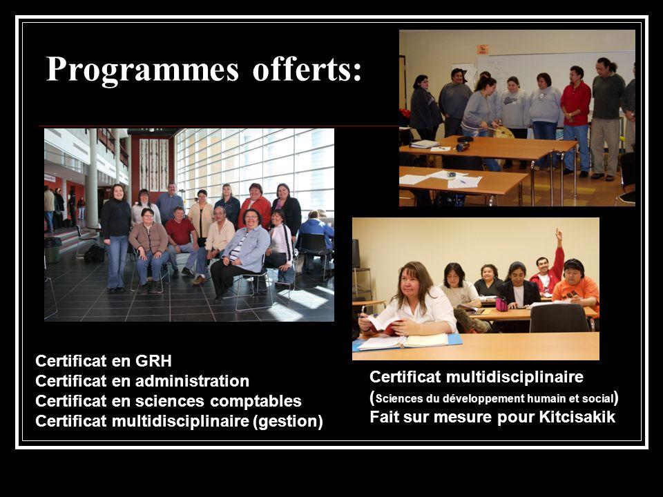Programmes offerts: Certificat en GRH Certificat en administration