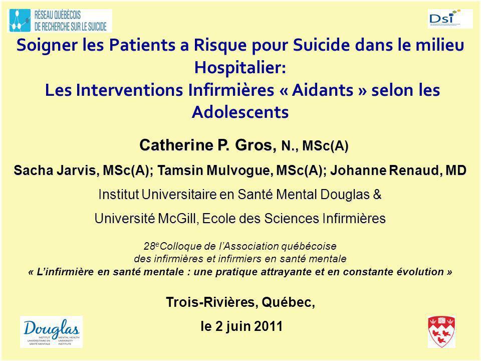Soigner les Patients a Risque pour Suicide dans le milieu Hospitalier: