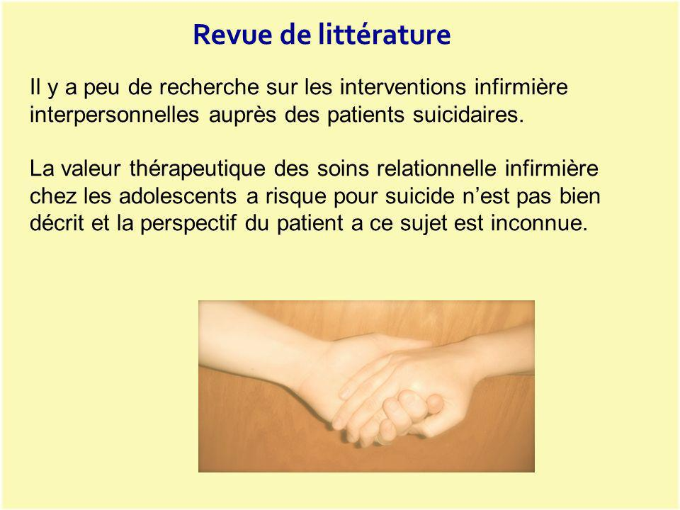 Revue de littérature Il y a peu de recherche sur les interventions infirmière interpersonnelles auprès des patients suicidaires.