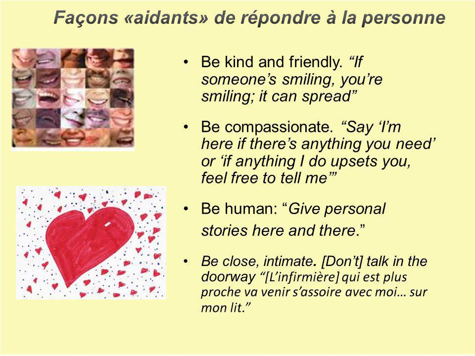 Façons «aidants» de répondre à la personne