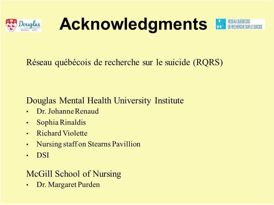 Acknowledgments Réseau québécois de recherche sur le suicide (RQRS)