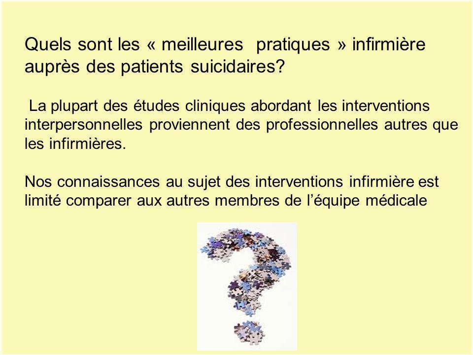 Quels sont les « meilleures pratiques » infirmière auprès des patients suicidaires