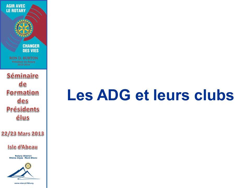 Les ADG et leurs clubs Séminaire de Formation des Présidents élus