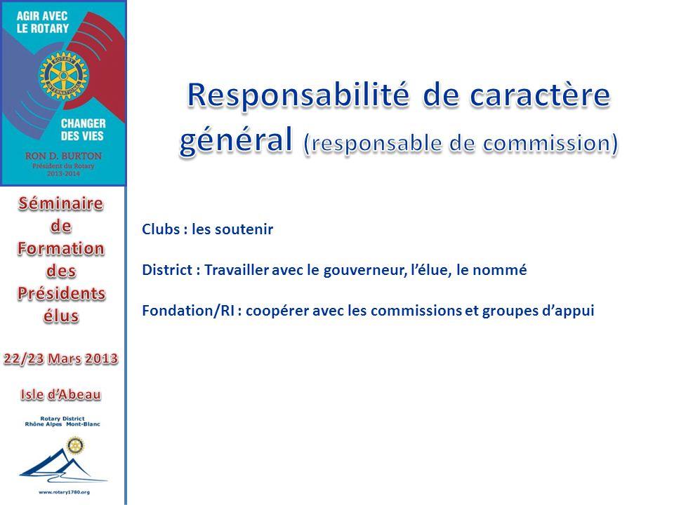 Responsabilité de caractère général (responsable de commission)