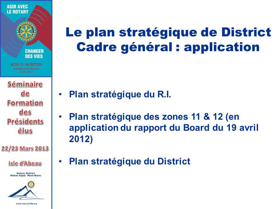 Le plan stratégique de District Cadre général : application