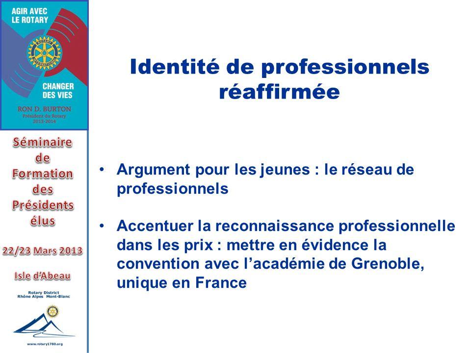 Identité de professionnels réaffirmée