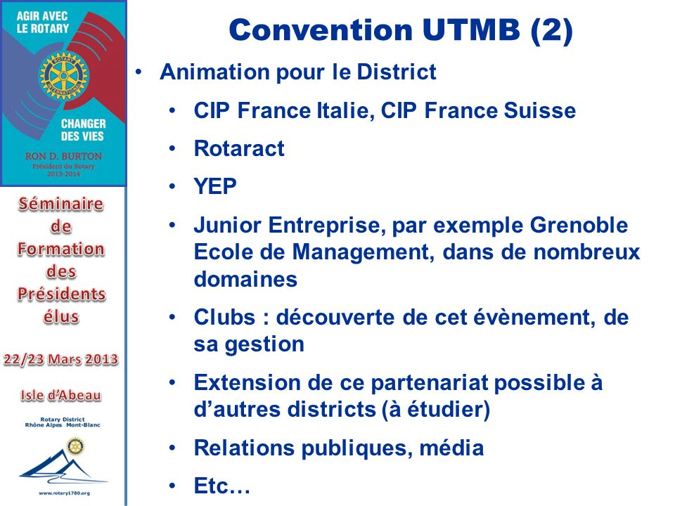 Convention UTMB (2) Animation pour le District
