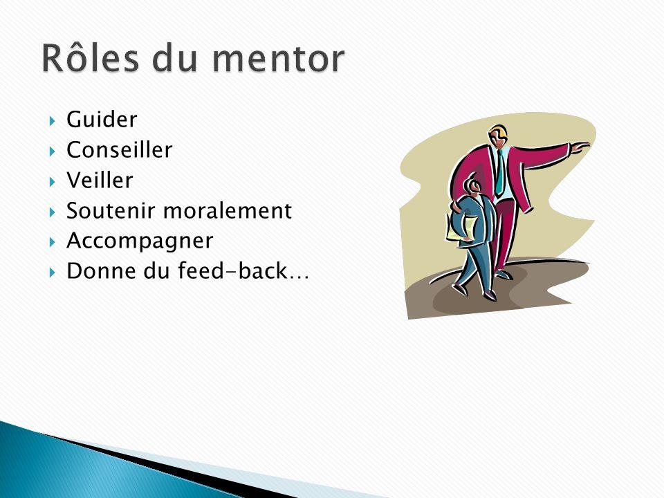 Rôles du mentor Guider Conseiller Veiller Soutenir moralement