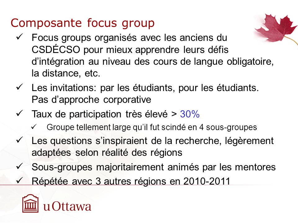Composante focus group