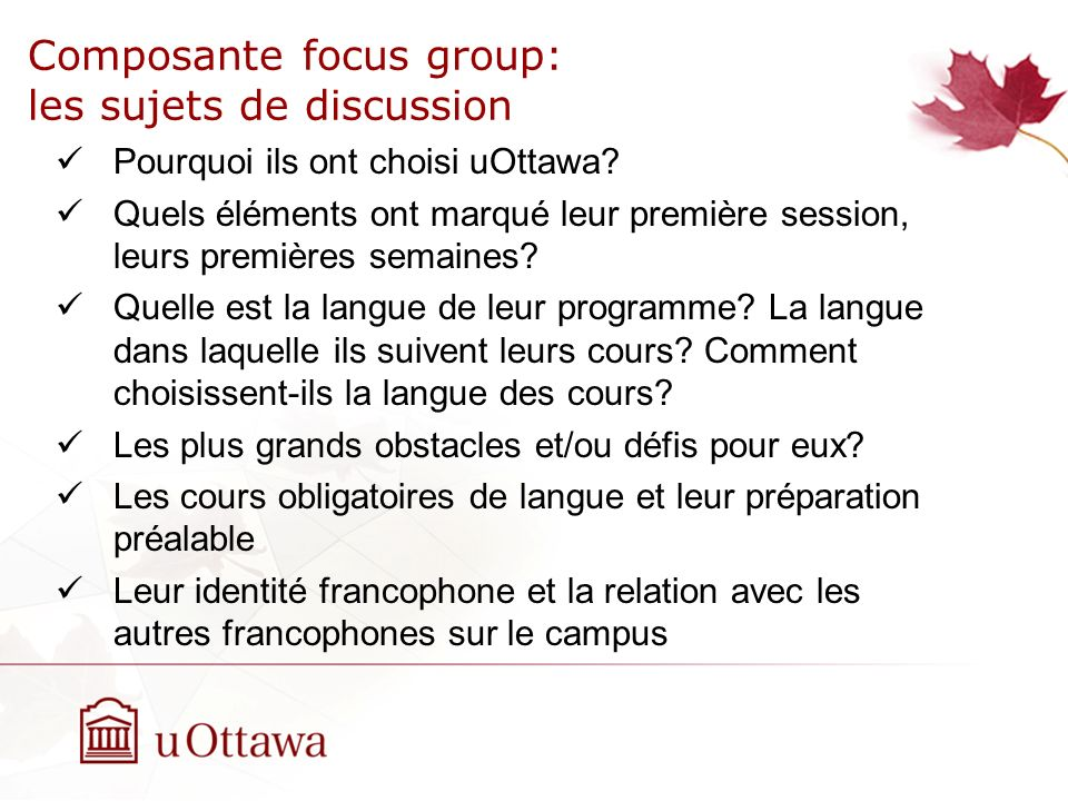 Composante focus group: les sujets de discussion