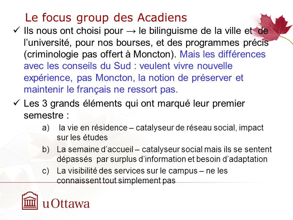 Le focus group des Acadiens