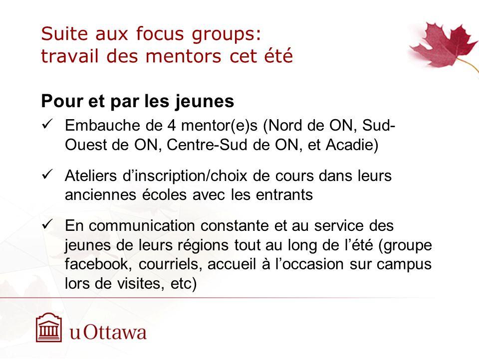 Suite aux focus groups: travail des mentors cet été