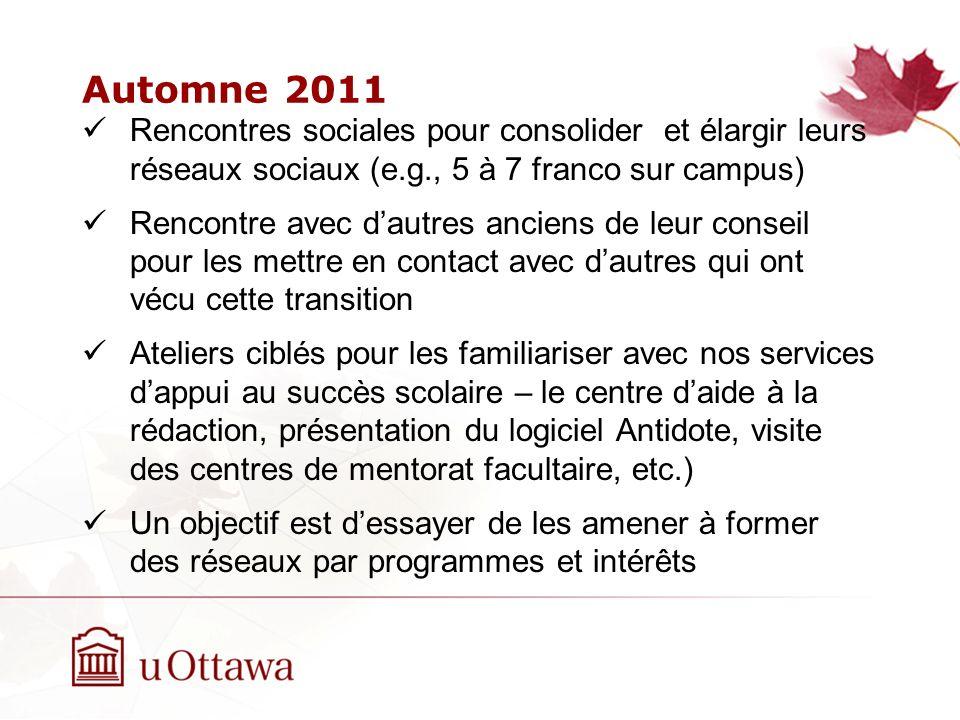 Automne 2011 Rencontres sociales pour consolider et élargir leurs réseaux sociaux (e.g., 5 à 7 franco sur campus)