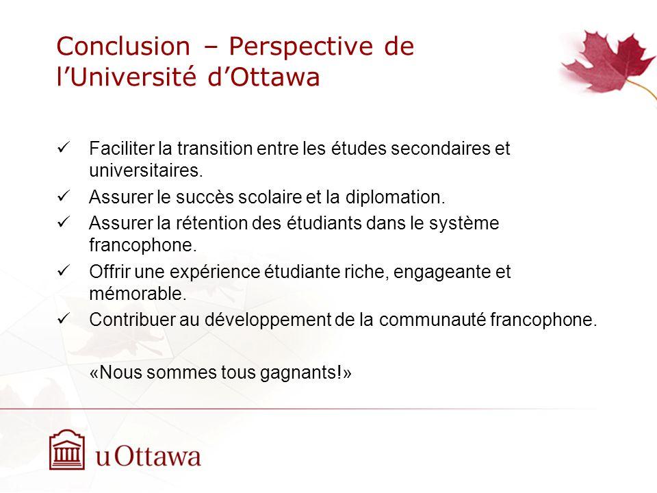 Conclusion – Perspective de l'Université d'Ottawa