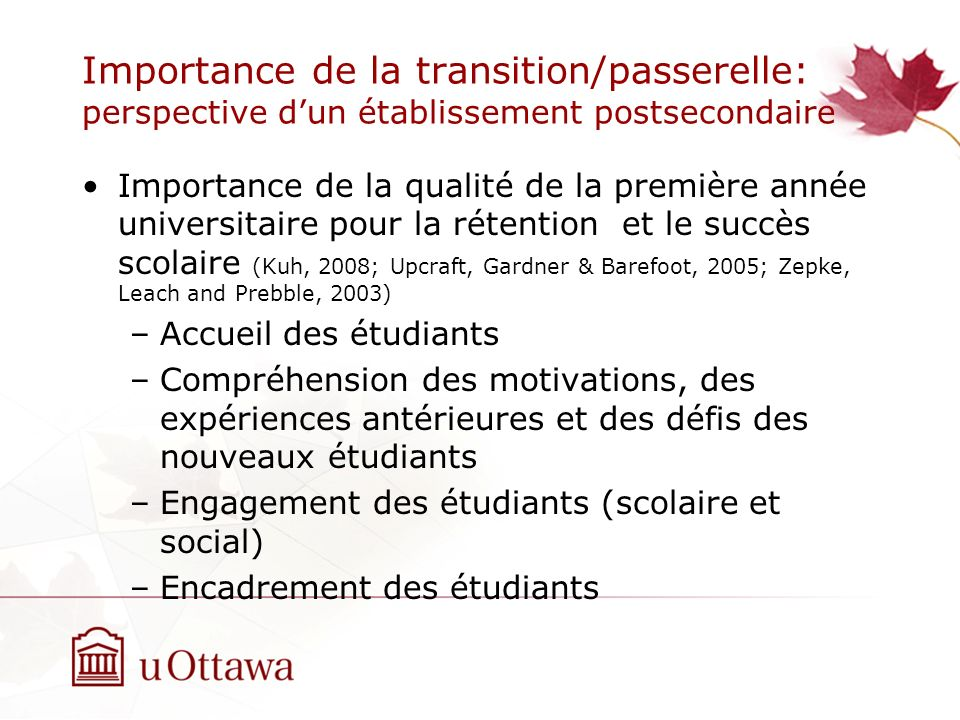 Importance de la transition/passerelle: perspective d'un établissement postsecondaire
