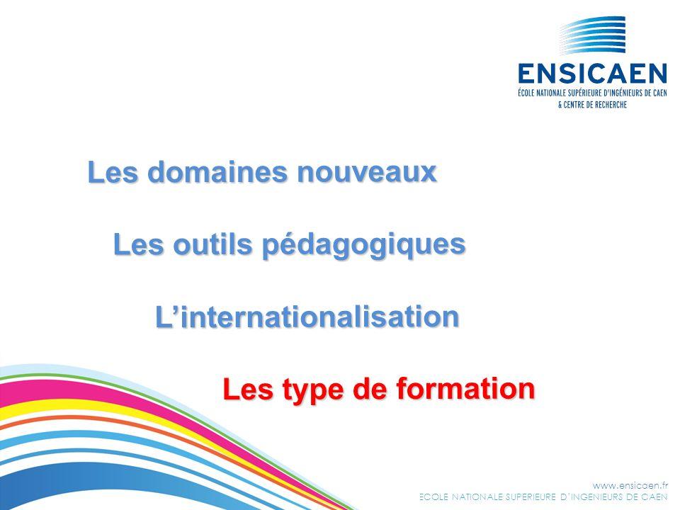 Les domaines nouveaux Les outils pédagogiques L'internationalisation Les type de formation