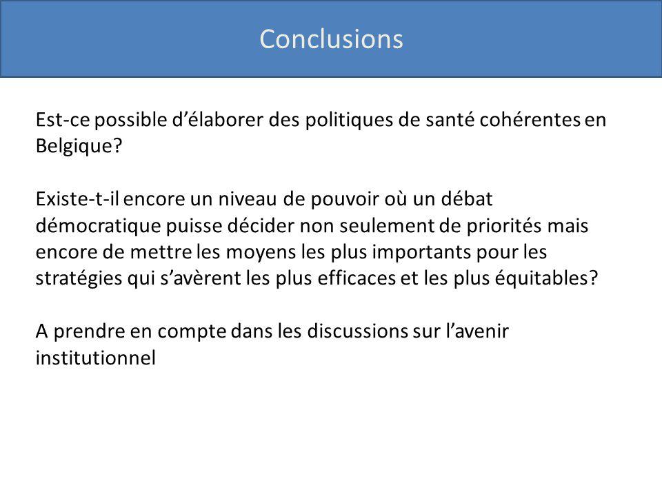 Conclusions Est-ce possible d'élaborer des politiques de santé cohérentes en Belgique