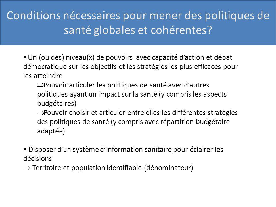 Conditions nécessaires pour mener des politiques de santé globales et cohérentes