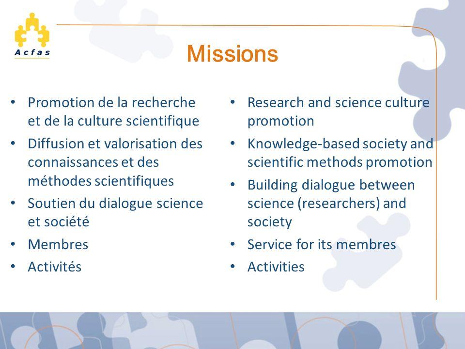 Missions Promotion de la recherche et de la culture scientifique