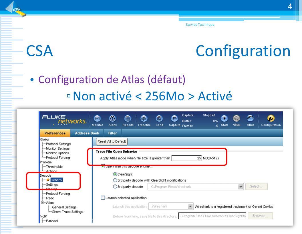 CSA Configuration Non activé < 256Mo > Activé