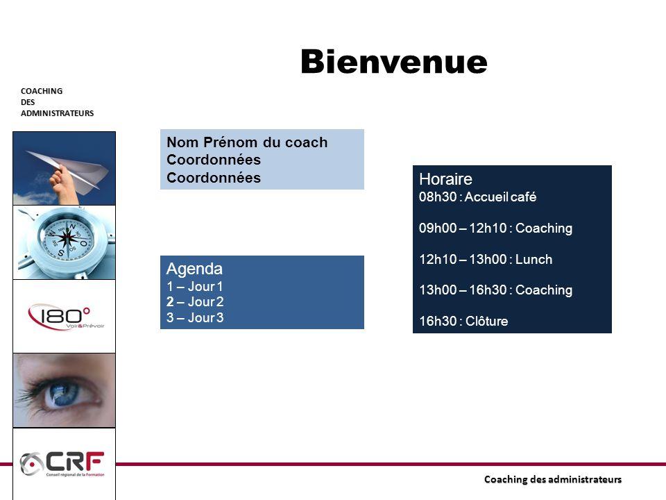 Bienvenue Horaire Agenda Nom Prénom du coach Coordonnées
