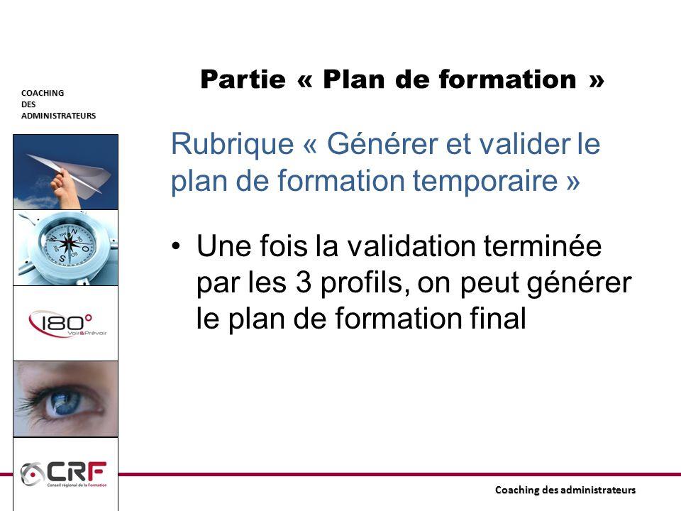Partie « Plan de formation »